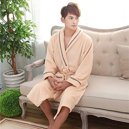 YSKDM Pareja Espesar Coral Fleece Bata Camisón Invierno Cálido Franela Ropa de Dormir Kimono Vestido de baño Casual Ropa de Dormir Suave Ropa para el hogar, Hombres Bata 3, M