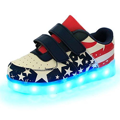 DoGeek Zapatos Led Niñas Deortivos para 7 Color USB Carga LED Luz Glow USB Flashing Zapatillas niño (Elegir 1 tamaño más Grande) (27EU, Rojo)