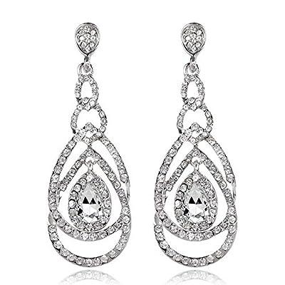 Cute Hollow Crystal Rhinestone Teardrop Connection Long Dangle Earrings for Women Fashion Strand Jewelry (Style04)