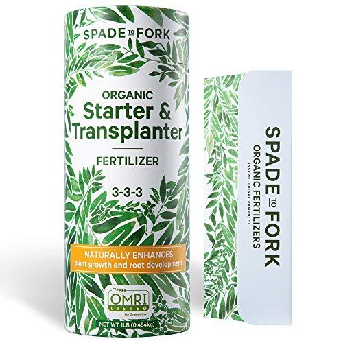 Spade To Fork Organic Indoor Plant Food - Natural Starter & Transplanter Mycorrhiza Fertilizer + Kelp & Alfalfa Meal for Strong Healthy Plants and Soil - 1lb