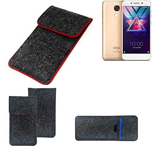 K-S-Trade Handy Schutz Hülle Für Coolpad Cool S1 Schutzhülle Handyhülle Filztasche Pouch Tasche Hülle Sleeve Filzhülle Dunkelgrau Roter Rand