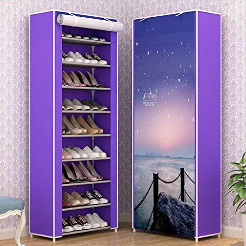 Gabinete de Zapatos a Prueba de Polvo Gabinete de Almacenamiento de Zapatos de Tela de Lona de 10 Niveles con Cubierta a Prueba de Polvo, sostenga hasta 30 Pares de Zapatos, 58 x 30 x 159cm (LXWXH)