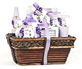 Mothers Day Gift Baskets - Green Canyon Spa Luxury Wicker Basket Gift Set in Lavender, 8 Pieces Premium Bath and Body Spa Work Set in Handcrafted Basket for Women Mother In Law