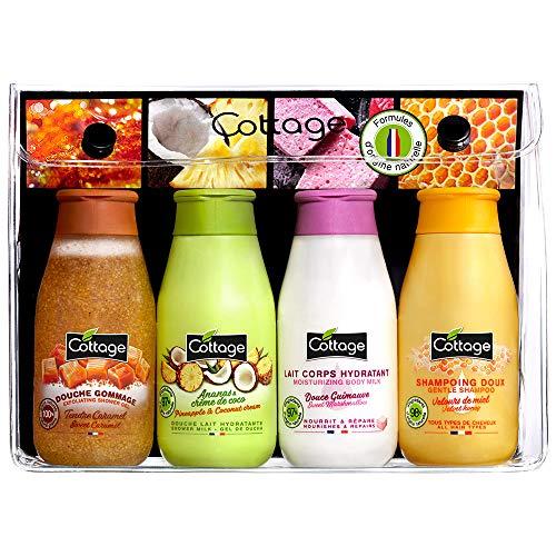 Cottage Kit Voyage Douche Gommage + Douche Lait + Lait Corps Hydratant + Shampoing Doux Fabriqué en France 4 x 50 ml
