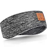 Schlafen Stirnband Verbessertes Bluetooth Stirnband, Kabellose Sport Stirnband Kopfhörer, Winter Stirnband Ohrwärmer, Musik Schlafen Stirnband für Seitenschläfer, Training, Joggen, Yoga (Grau)