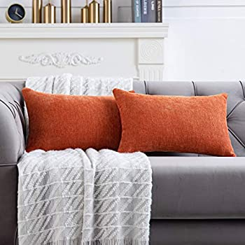 Anickal Burnt Orange Lumbar Pillow Covers 12x20 Inch Set of 2 Solid Rustic Farmhouse Decorative Throw Pillow Covers Cushion Case for Home Sofa Couch Decoration