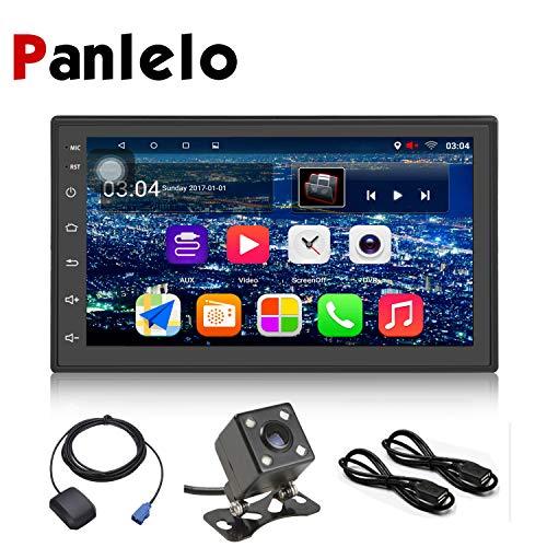 Panlelo S6CA 2 DIN Android 9.0 Autoradio Am FM RDS Navegación GPS Quad Core Cámara de Respaldo de 4LED Enlace de Espejo BT Llamada con Manos Libres WiFi 1GB RAM 16GB ROM