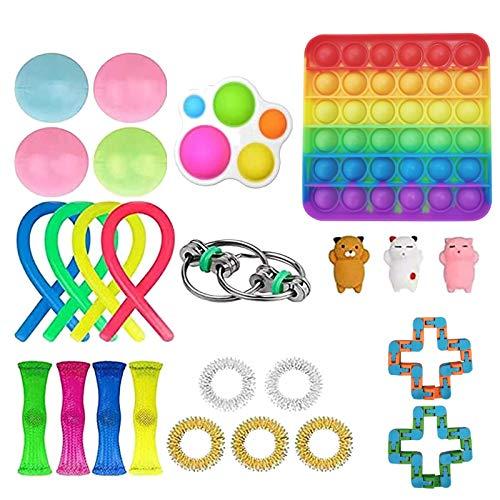 WATERSPA Fidget-Spielzeug-Set, 25 Stück, Stressabbau, Angstlinderung, sensorisches Fidget-Spielzeug-Set mit Pop It und Stressball, spezielles Spielzeugsortiment für Kinder und Erwachsene (25 Stück)