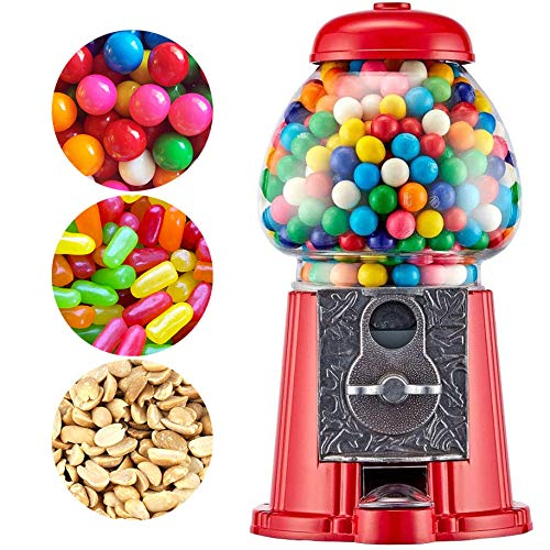 Classic Red Gumball Machine - Metal 11-Inch Antique Style for 0.62 Inch Gumballs, Candy or Nuts - Accepts any USA Coin by American Gumball Company