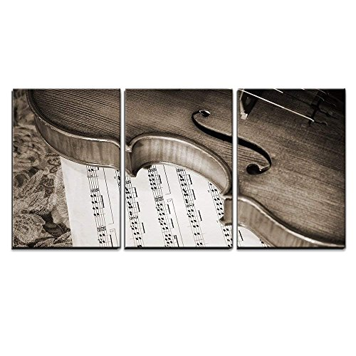 "wall26 - 3 Piece Canvas Wall Art - Close-Up Picture of The Old Italian Violin Witn Score - Modern Home Decor Stretched and Framed Ready to Hang - 16""x24""x3 Panels"