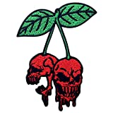The Bleeding Skull Cherry Patch Embroidered Applique Iron On Sew On Emblem
