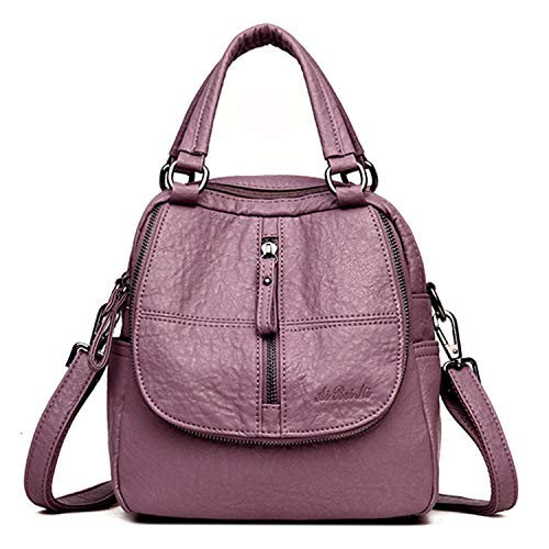 Jywmsc Damen Vintage Rucksack Weiches PU-Leder Handtasche High-End Doppelschicht Multifunktion Reise Schulter Tasche
