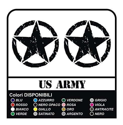 3 Autocollants ÉTOILE US Army cm 10x10 étoile Militaire 4x4 SUV Stickers Decals Tuning (Gris Satin)