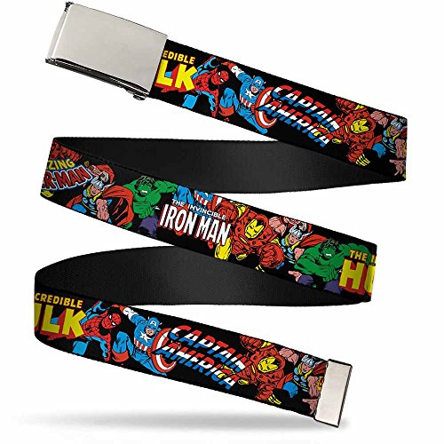 Buckle-Down unisex child Buckle-down Web Avengers 1.0' Belt, Marvel Characters Stacked W/Character Text Logos, 1.0 Wide - Fits up to Kids Size 20 US