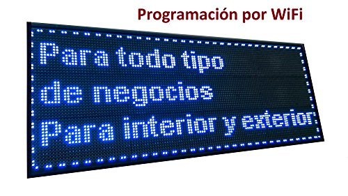 Cartel LED PROGRAMABLE (128x48 cm + WiFi, Azul) Letrero LED PROGRAMABL