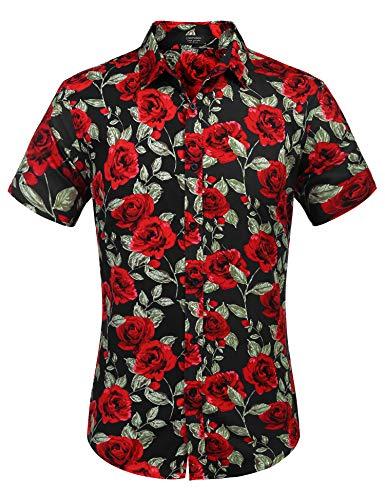 COOFANDY Men's Rose Flower Patterned Shirt Short Sleeve Button Up Dress Shirt