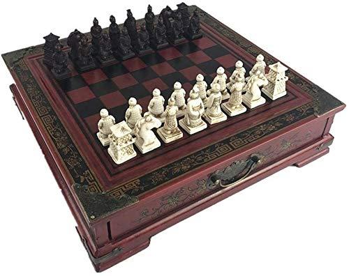 J & J Schachspiel Antike Terrakotta dreidimensionale Figuren Schach Holz Schachbrett charakteristisches chinesisches Stil Backgammon und Schach-Set