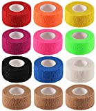 """12 Pack 1"""" x 5 Yards Self Adhesive Elastic Bandage Wrap Stretch Self-Adherent Tape for First Aid,Sports, Wrist, Ankle (10 Colors)"""