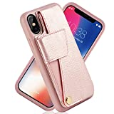 iPhone X Wallet Case with Card Holder, ZVEdeng iPhone X Rotational Case Leather Wallet Phone Case Slim Magnetic Flip Case Protective Cover for Apple iPhone X/XS (5.8inch)-Rose Gold