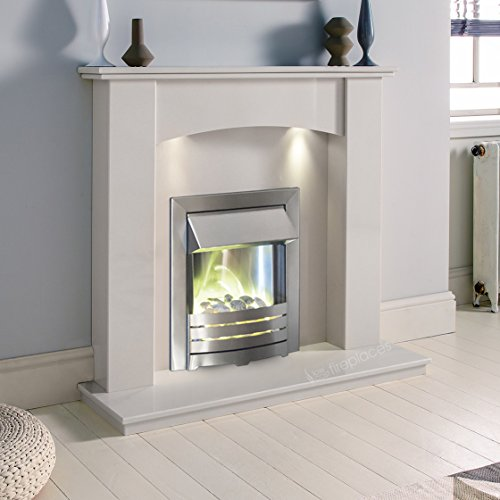 White Marble Stone Modern Curved Wall Surround Electric LED Fireplace Suite Brushed Silver Electric Fire Pebble Glow & Downlights