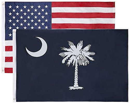 State & American Flag Combo Pack (State Flag is Double Layered) (US Flag is Single Layered with Embroidered Stars and Sewn Stripes)-Both Flags Have Designs (South Carolina + USA)