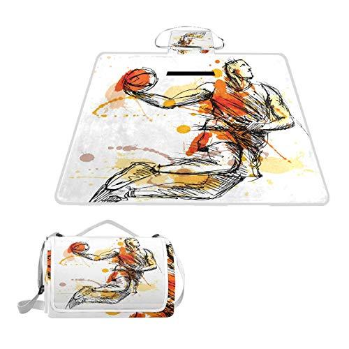 LZXO Jumbo-Picknickdecke, faltbar, Aquarell-Sport, Basketball, groß, 145 x 150 cm, wasserdicht, handliche Matte, Tragetasche, kompakte Outdoor-Matte mit Griff für Outdoor-Reisen, Camping, Wandern.