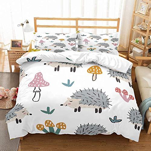 Kids Cartoon Duvet Cover Cartoon Mushrooms Hedgehog Birds Bedspread Printed 2Pcs Bedding Set Children 1 Duvet Cover 1 Pillowcase