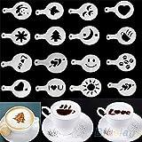 N-K 16 plantillas de café barista para café con leche, capuchino, cupcake, galletas duraderas y útiles