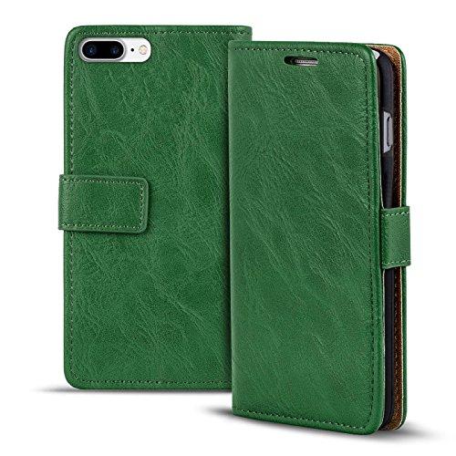 Preisvergleich Produktbild Verco iPhone 8 Plus Hülle,  Premium Handy Schutzhülle für Apple iPhone 7 Plus Hülle PU Leder Wallet Tasche Retro Flipcase (5, 5 Zoll),  Grün