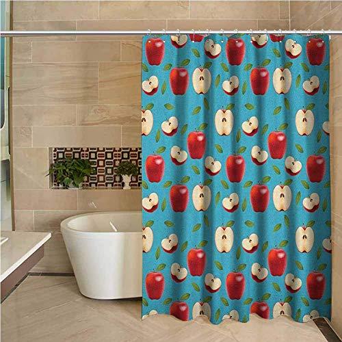N\A Kleiner Duschvorhang Apfel halbiert & ganz rot köstliche Äpfel auf abstraktem Hintergr& Ges&e Entscheidungen Cremeblau Rubin