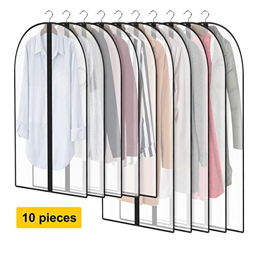"AIDBUCKS Garment Cover Clothes Protector Suit Bag for Storage Travel 5 x 40"" + 5 x 47"" Sturdy Full Zipper Store Dresses Suits Coats - Set of 10"