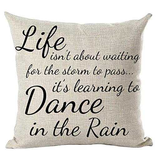 ramirar Black Word Art Quote Life Isn't About Waiting for The Storm to Pass Inspirational Decorative Throw Pillow Cover Case Cushion Home Living Room Bed Sofa Car Cotton Linen Square 18 x 18 Inches
