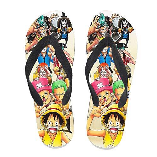 7REND Custom Flip Flops One Piece Luffy Teammates Supernatural Adventure Anime Thong Sandals Beach Slippers for Women Men Daily Indoor Outdoor Activities Black