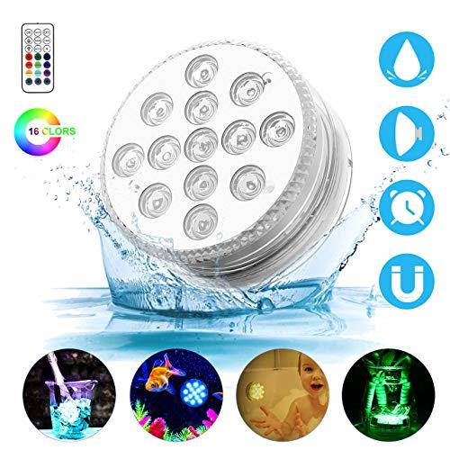 Unterwasser Licht GolWof 13 LED Multi Farbwechsel Wasserdichte LED Leuchten mit fernbedienung Dekoration Unterwasserlicht (1 Pack)