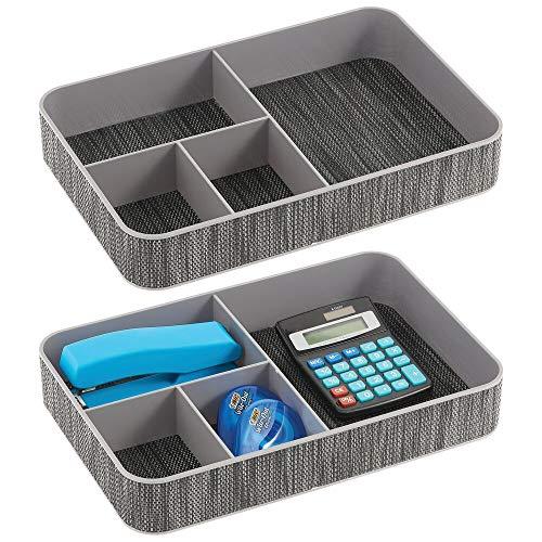 mDesign Juego de 2 organizadores de escritorio – Con 4 compartimentos para el material de oficina: lápices, post-it, clips, etc. – Bandeja de oficina para escritorio o cajón – negro