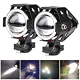 2x Motorcycle Headlights CREE U5 DRL Fog Driving Lamps Lights -HOCOLO Motorcycle LED Bulbs for Cars Bike Boat ATV Front Spotlights High/Dim/Strobe 3 Modes Included 1x Switch 30W 6500K White Color