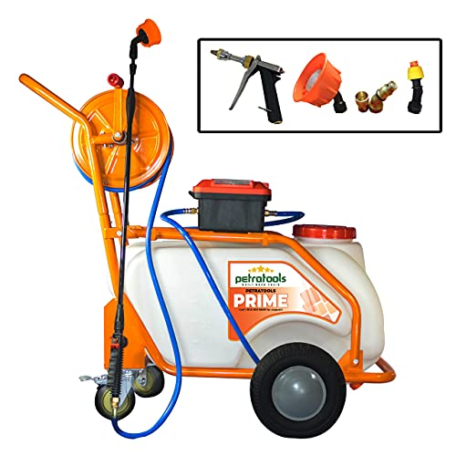 PetraTools Battery Powered 13 Gallon Pushcart Sprayer (Prime), Heavy Duty Commercial Sprayer with Custom Built Cart, Off-Road Wheels & Solid Steel Easy-Turn Hose Reel for 100 Foot Hose, 80PSI