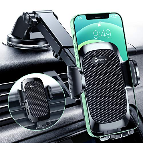 [2021 Military-Grade Super Suction & Stable ] Universal Car Phone Mount Humixx, Car Holder for Dashboard Air Vent Windshield, 360 ° Rotatable Long Arm Cell Phone Holder for All Mobile Phones
