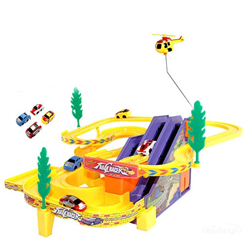 BACKGAMMON® Track Racer Toy Game Car Racing Ramp Set with Rotating Helicopter Battery Operated and Musical for Games Kids
