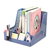 Moecat Life ファイルスタンド A4 卓上収納ボックス 多機能 書類ケース 携帯スタンド 小物入れ ペンスタンド付き 組立簡単 (4段式 ブルー)