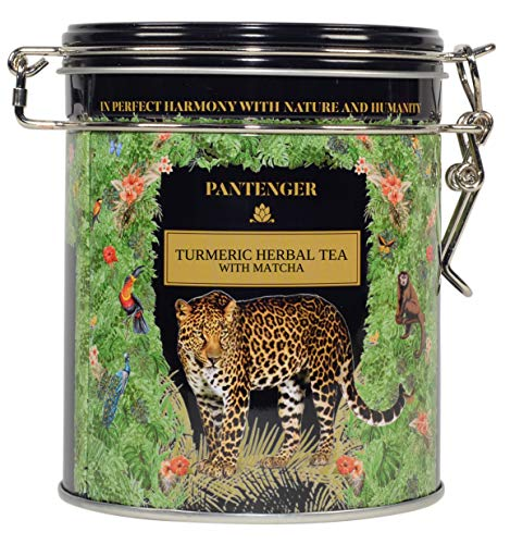 Pantenger Turmeric Herbal Tea with Matcha and Ginger. Loose Leaf. 3.5 Ounces - 50 Servings. Organic Herbal Tea. Stomach Ease, Detox, Cleanse, Weight Loss Tea.