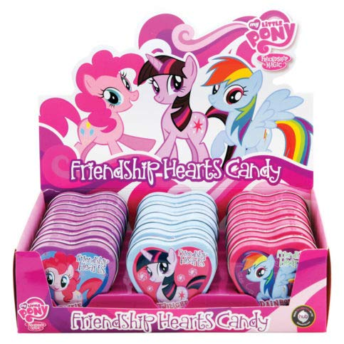 My Little Pony Friendship Hearts Candy Tins - Rainbow Dash, Pinkie Pie, and Twilight Sparkle Tins - 18 Count Display Box