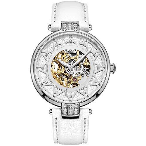 BUREI Reloj Automático para Mujer Reloj Esqueleto de Moda Reloj Mecánico Cristal de...