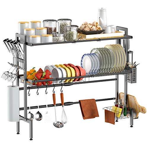 Over Sink Dish Drying Rack,Xinyourui 2 Tier Adjustable Stainless Steel Large Expandable Dish Drainer Shelf for Saving Organizer Storage Space in Kitchen,Black(27≤ Sink Size ≤ 36 inch)