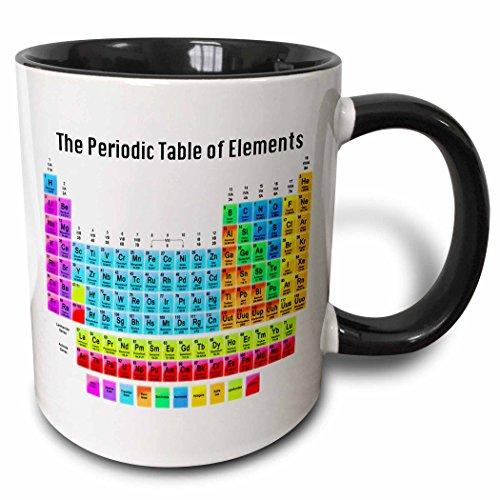 3dRose The Periodic Table Of Elements Two Tone Mug, 11 oz, Black/White