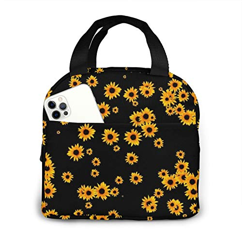 Sunflower Lunch Bag for Women Insulated Lunch Box Tote Bag Freezable Cooler Thermal Reusable Waterproof Lunchboxes for Camping, Travel, Fishing Mothers Day Gifts