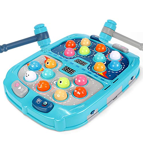 likid Whac-A-Mole Game, Mini Electronic Arcade Game,Light-Up Musical Interactive Pounding Toy,Add Fight PK Mode, Fun Gift for Age 2,3, 4, 5, 6, 7, 8 Years Old Kids, Boys, Girls,2 Hammers Included
