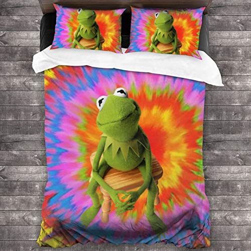 232 3-Piece K-Ermit The Frog Zipper Closure Bed Sheet Super Soft Bedding Set Set (1 Quilt Set, 2 Pillow Shams) 86'X70'