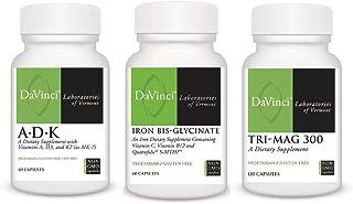 Davinci Non-GMO Daily Essentials Trio Bundle with Vitamins A, D, K, Iron, and Magnesium Capsules (3 Items)