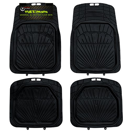 TUFFMATS 4-Piece 4PC Black Universal Trim-Fit Floor Mat Covers Durable for Any Weather and Odor Resistant with Dirt & Debris Pockets fits All Automobiles Sunrise Design by Rugged TUFF